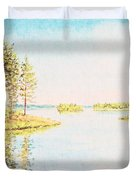 On The Lake In A Sunny Day Duvet Cover