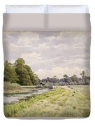 On The River Ouse Hemingford Grey Duvet Cover by William Fraser Garden