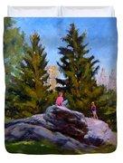 On The Rocks In Central Park Duvet Cover