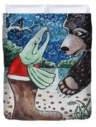 Once Bear And Salmon_part 1 Duvet Cover