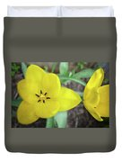 One And A Half Yellow Tulips Duvet Cover