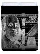 One Hundred Us Dollar Bill - $100 Usd In Silver On Black Duvet Cover
