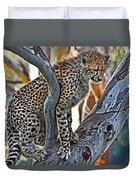 One Little Cheetah Sitting In A Tree Duvet Cover