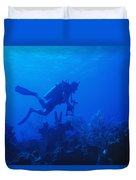 One Man Scuba Diving On Coral Reef Duvet Cover