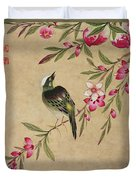 One Of A Series Of Paintings Of Birds And Fruit, Late 19th Century Duvet Cover
