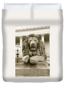 One Of Four Lion Statues Outside St George's Hall Liverpool Duvet Cover