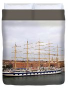 One Of Star Clipper's Masted Cruise Liners Docked In Venice Italy Duvet Cover