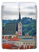 One Of The Churches In Cesky Kumlov In The Czech Republic Duvet Cover