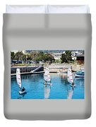One-person Sailboats By The Commercial Pier In Monterey-california Duvet Cover