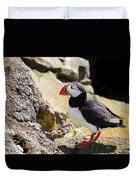 One Puffin In Iceland Duvet Cover