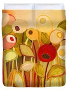 One Red Posie Duvet Cover by Jennifer Lommers