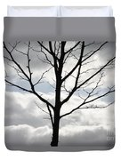 One Winter Tree With Clouds Duvet Cover