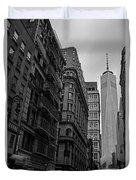 One World Trade Center New York Ny From Nassau Street Black And White Duvet Cover