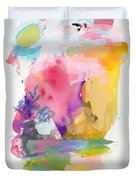 Oniric Landscape Reflections With Sun And Bird Duvet Cover