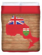 Ontario Rustic Map On Wood Duvet Cover