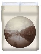 Oostersingel With Aangemeerde Ships In Leeuwarden, Anonymous, 1897 Duvet Cover