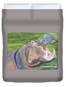 Open Mouthed Hippo On Wood Duvet Cover