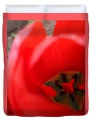 Open Red Tulip Duvet Cover