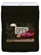 Open Sign With Flowers Fine Art Photo Duvet Cover