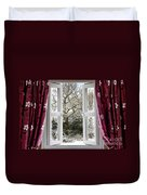 Open Window With Winter Scene Duvet Cover