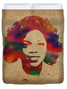 Oprah Winfrey Vintage 1978 Watercolor Portrait Duvet Cover