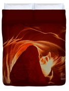 Orange Abstract At Upper Antelope Duvet Cover