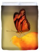 Orange And Black Butterfly Sitting On The Yellow Petal Duvet Cover