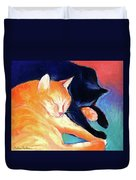 Orange And Black Tabby Cats Sleeping Duvet Cover