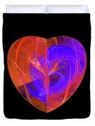 Orange And Blue Fractal Heart Duvet Cover