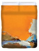 Orange And Brown Composition Duvet Cover