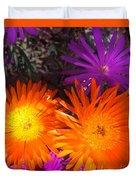 Orange And Fuchsia Color Flowers Duvet Cover