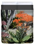 Orange And Pink Exotic Bell Flowers Duvet Cover