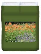 Orange And Purple Dream Flowers Duvet Cover