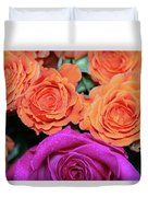 Orange And White With Pink Tip Roses Duvet Cover