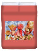 Orange And Yellow Tullips With Blue Sky Duvet Cover