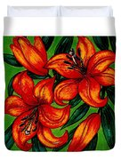 Orange Asiatics Duvet Cover