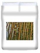 Orange Bamboo Abstract, Reflection On Water Duvet Cover