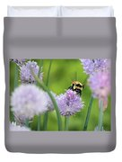 Orange-belted Bumblebee On Chive Blossoms Duvet Cover