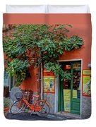 Orange Bicycle Wine Shop Monterosso Italy Dsc02584 Square Duvet Cover