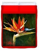 Orange Bird Of Paradise Duvet Cover