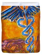Orange Blue Purple Medical Caduceus Thats Atmospheric And Rising With Mystery Duvet Cover
