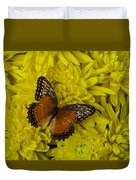 Orange Butterfly On Yellow Mums Duvet Cover