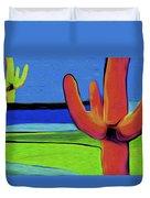 Orange Cactus By Nixo Duvet Cover