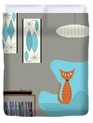 Orange Cat In Turquoise Egg Chair Duvet Cover