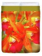 Orange Cattleya Orchid Duvet Cover
