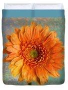 Orange Color Stroke Gerber Daisy Duvet Cover