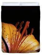 Orange Day Lilly On Black Duvet Cover