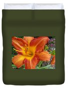 Orange Daylily With Dew Duvet Cover