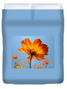 Orange Floral Summer Flower Art Print Daisy Type Blue Sky Baslee Troutman Duvet Cover