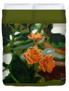 Orange Flower Abstract Duvet Cover